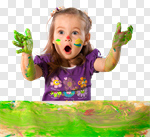Сlipart Child Little Girls Playing Paint Painting photo cut out BillionPhotos