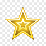 Gold Star 5 Branches transparent PNG  StickPNG