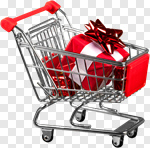 Сlipart Christmas Shopping Gift Shopping Cart Retail photo cut out BillionPhotos