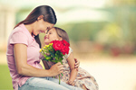 Сlipart Woman and child with bouquet of flowers day mother spring concept   BillionPhotos