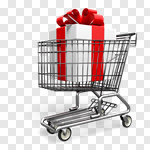 Сlipart Shopping Cart Christmas Shopping Gift E-commerce 3d cut out BillionPhotos