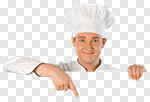 Сlipart Chef Chef's Hat Sign Isolated Pointing photo cut out BillionPhotos