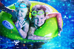 Сlipart Kids in pool water park slide aquapark   BillionPhotos