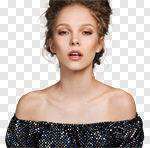 Сlipart Human Face Women Beauty Fashion Model Black photo cut out BillionPhotos