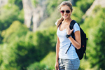 Сlipart Young woman on nature background travel traveler backpack backpacker photo  BillionPhotos