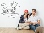 Сlipart Young Couple sitting on the floor in a room floor sitting apartment two   BillionPhotos