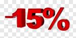 Сlipart Sale Percentage Sign Number 15 % 15% 3d cut out BillionPhotos