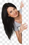 Сlipart Women Sign Holding Blank Peeking photo cut out BillionPhotos