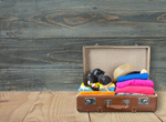 Сlipart suitcase on wood desk travel bag tourist full   BillionPhotos