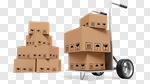 Сlipart Delivering Box Package Transportation Hand Truck 3d cut out BillionPhotos