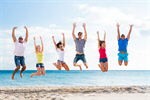 Сlipart beach group jumping friends coast photo  BillionPhotos