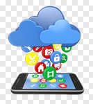 Сlipart Mobile Phone Cloud On The Move Mobility Cloudscape 3d cut out BillionPhotos
