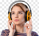 Сlipart Music Headphones Listening Women Relaxation photo cut out BillionPhotos
