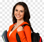 Сlipart University Student College Student Female Backpack photo cut out BillionPhotos