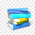 Сlipart Book Stack Library Multi Colored Three-dimensional Shape 3d cut out BillionPhotos