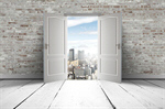Сlipart door opening leaving people young vector  BillionPhotos
