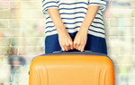 Сlipart Woman holds orange suitcase woman travel airport leaving   BillionPhotos
