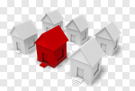 Сlipart Residential District House Community Red Individuality 3d cut out BillionPhotos