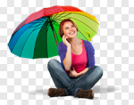 Сlipart Descriptive Color Umbrella Multi Colored Women Mobile Phone photo cut out BillionPhotos