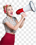 Сlipart Megaphone Women Shouting Screaming Pin-Up Girl photo cut out BillionPhotos