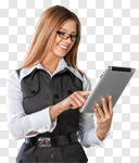 Сlipart tablet woman glasses searching business photo cut out BillionPhotos