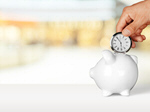 Сlipart Hand with clock and piggy bank on the table Time Savings Time is Money Clock   BillionPhotos