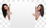 Сlipart Women Sign Holding Blank Peeking  cut out BillionPhotos