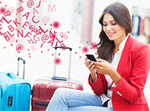 Сlipart Air travel concept with young businesswoman airport travel traveler phone   BillionPhotos