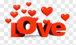Сlipart Valentine's Day Heart Shape Love Three-dimensional Shape Single Word 3d cut out BillionPhotos