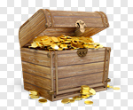 Сlipart Treasure Chest Wealth Gold Coin Crown 3d cut out BillionPhotos