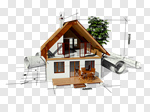 Сlipart House Blueprint Built Structure Plan Architecture 3d cut out BillionPhotos