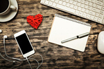 Сlipart Office Workplace with Red Heart facebook mock up earphones photo  BillionPhotos
