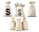 Сlipart Six Money Bag on white background Money Bag Currency Paper Currency Wealth   BillionPhotos