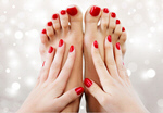 Сlipart beautiful red pedicure spa closeup hands pedicure   BillionPhotos