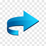 Сlipart Arrow Sign Three-dimensional Shape Turning Motion Blue vector cut out BillionPhotos