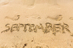 Сlipart Inscription on wet sand September beach autumn waves fall coastal photo  BillionPhotos