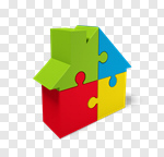 Сlipart House Puzzle Residential Structure Real Estate Symbol 3d cut out BillionPhotos